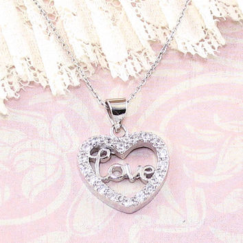 Cursive Love Heart Necklace in Sterling Silver