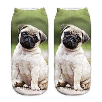 Hot 3D Printed Cotton Socks Pugs Unhappy Printed Casual Style 19cm Low Anklet Socks Unisex Calcetines Chaussettes