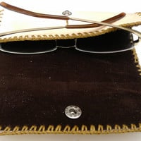 Tan leather reading glasses case unisex