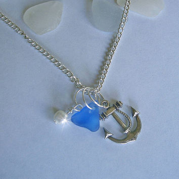 Sea glass jewelry. Blue beach sea glass necklace with nautical anchor.
