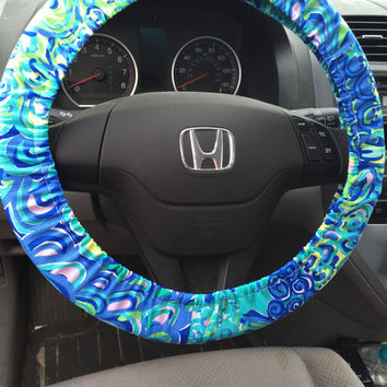 Steering Wheel Cover made with Lilly Pulitzer Lilly's Lagoon Fabric - Fall 2015