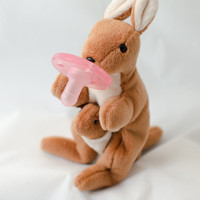 Kangaroo with Joey Large BinkyFriend  (Soothie Pacifier Animal or Binky Leash) - Free Shipping on orders over 20 Dollars - FREESHIP20