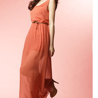 Romantic Chiffon Sleeveless Off Back Long Maxi Belted Dress 3 Colors