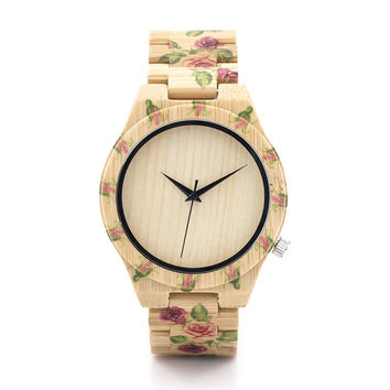 BOBO BIRD Brand Designer D21 Newest Color Printing Bamboo Watch Unique Wooden Quartz  Watches High Quality Luxury Watch Gift Box