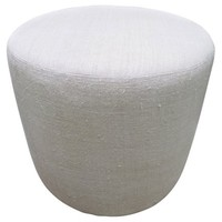 French Natural Hand-Spun Linen Ottoman