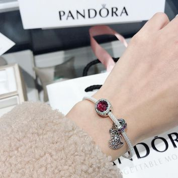 DCCK 031 Pandora Silver silk bracelet pendant in the form of Valentine's Day love