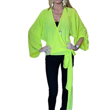 Alexis Angelie Crossover Blouse in Lime
