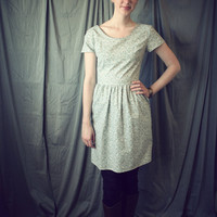 Fall Fashion Short Sleeve Dress- 1950's Floral Vintage Style Dress- Light Blue Tiny Floral in Cotton