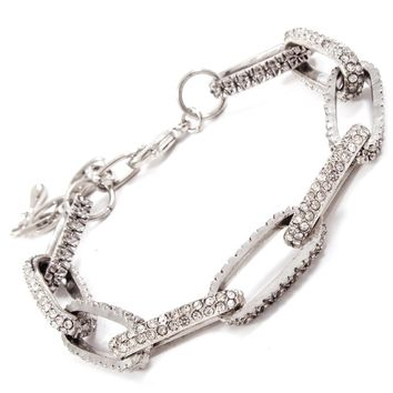 Kayla's Silver Crystal Accented Chain Link Bracelet