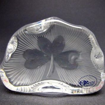 Hand Cut Glass polished  shamrock pattern paperweight, Ireland 24% lead crystal