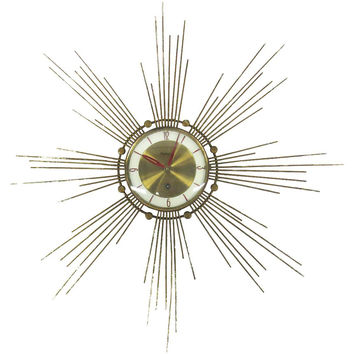 Midcentury Brass Starburst Wall Clock