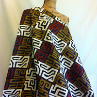 African KUBA Style Print Fabric by the HALF YARD--Brown, Black, Tan, and Cream