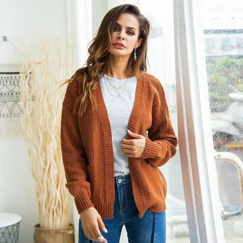 Pure Color Knit Cardigan Sweater