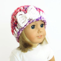 18 Inch Doll Hat - AG Doll Hat - Knit Bow Beanie