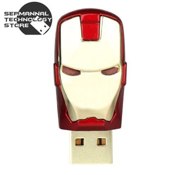 usb flash drive 2016 fashion cool metal face iron man hero 4g 16g 32g 64g Memory USB stick pen drive pendrive free shipp