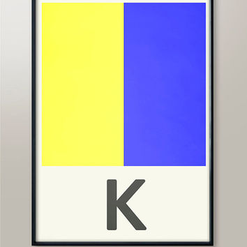 Military Alphabet Code, Letter K, Naval Flags, Naval Signal, Nautical Art, Nautical Sign, Navy Sign, Martime Codes, Maritime Flag, Art