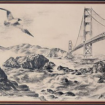 Alec Stern SF Golden Gate Lithograph Print VTG 1960s Pencil Signed Double Matted