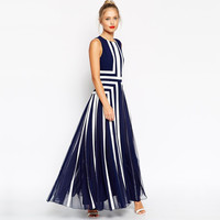 Navy Blue Line Chiffon Maxi Dress