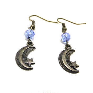 Small Bronze Crescent Moon Earrings with Blue Crystal Beads, Moon and Star Earrings, Celestial Jewellery, Bronze Moon Earrings, Small Gift