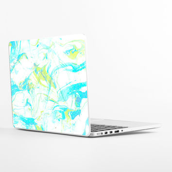 Pale Marble in Blue Laptop Skin