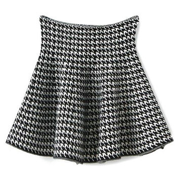 Houndstooth Flouncing Knit Skirt