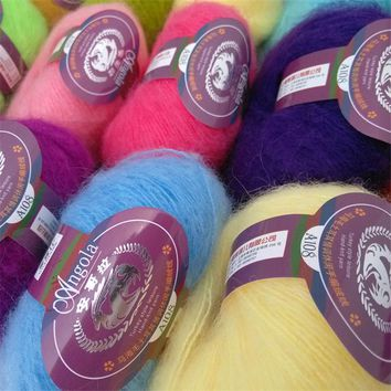 250g 10 Balls Natural Mohair Cashmere Yarn for Hand Knitting Luxury Fur Angola Woolen Hairy Skein Worsted fil a tricoter laine