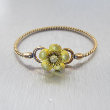Victorian Baby Bracelet, Rolled Gold Bangle, Cable Twist Flower Daisy Hinged Bracelet, Vintage Antique Little Girl Jewelry, Baby Gift