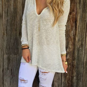 White V Neck Long Sleeve Hoodie Shirt