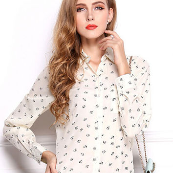 Long Sleeve Print Chiffon Chic Blouse with Collar