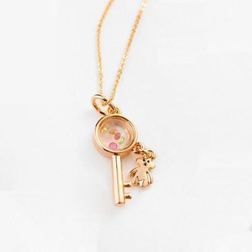 New Brand TracysWing Real Austrian Crystals Rose Gold Color Fashion Key And Little Bear Pendant Necklace Vintage  #76885r
