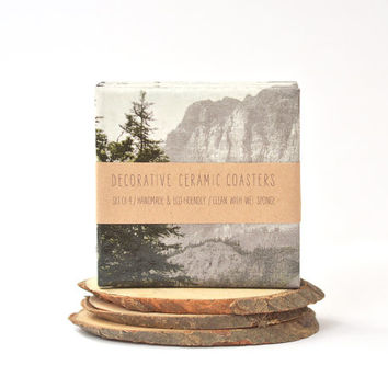 Moody Mountains Coasters Christmas Winter Photo Coasters Grainy Vintage Style Landscape Gift for Men