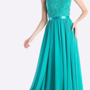 Sheer Neckline Floral Applique Sequin Evening Dress Jade