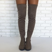 Unforgettable Suede Boots in Taupe