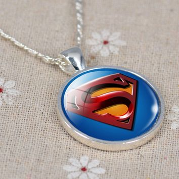 25mm Superman Glass Photo Cabochon Pendant Necklace/Keychain