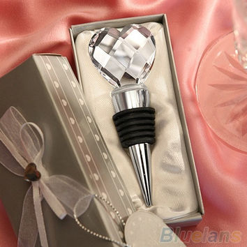 Chrome Bottle Wine Stopper Crystal Heart Design WEDDING Favor Drink Reception = 1932256516