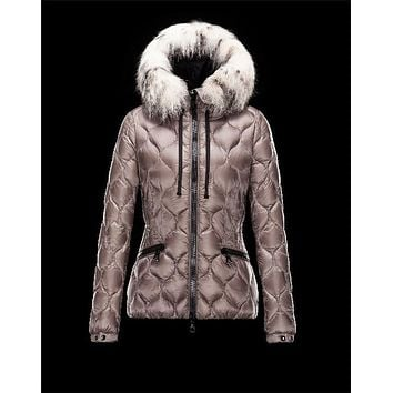 Moncler GRESFUR shiny Printed fur Ultralight Dove grey Jackets Nylon Womens 41456951UB