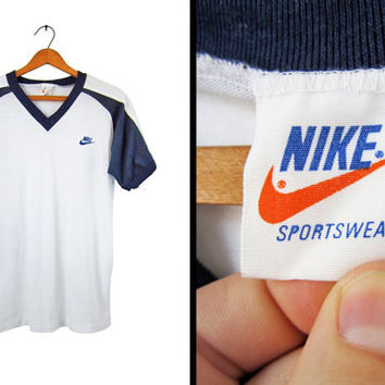 Vintage 80s Nike T-shirt NOS Deadstock Raglan Orange Tag Nike Swoosh White Ringer - Medium