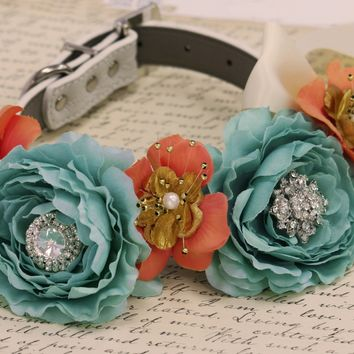 Blue Peonies coral and Gold Floral Dog Collar, Beach Summer wedding