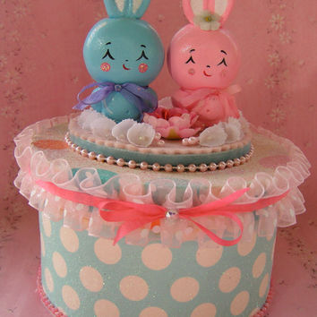 Sweet Bunny Box...Handmade with Paper Clay