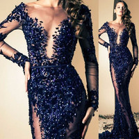 Luxury Real Dark Blue Long Sleeve See Through Evening Dress Sexy Scoop Lace Appliques Beaded Long Dress Party Evening Elegant