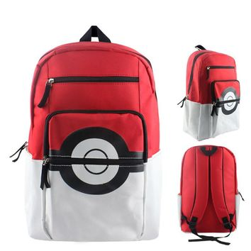 Anime Pokemon Pikachu Poke Ball School Shoulder Bag Children Plush Backpack Free Shipping BB0119