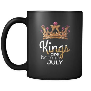 Kings Are Born in July Birthday Black 11oz Mug