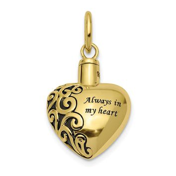 10k or 14k Yellow Gold Always In My Heart Ash Holder Pendant, 16mm