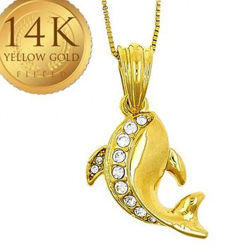 Gold Layered Women Dolphin Fancy Necklace, with White Crystal, by Folks Jewelry