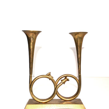 Vintage Brass Horn Candle Holder Brass Trumpet Candlestick Holder Christmas Decorations Brass Trumpets Horns Holiday Decor