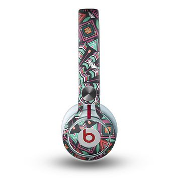 The Mirrored Coral and Colored Vector Aztec Pattern Skin for the Beats by Dre Mixr Headphones