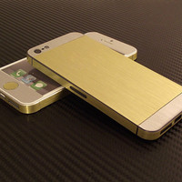 iPhone 5 Gold & Stainless Steel Brushed Effect Metalical Decal Wrap Skins