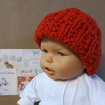 Knitted Baby Hat, Red Baby Beanie, Chunky Hat, Photo Prop, 0 Months to 4 Years, Baby Shower Gift, Nchanted Gifts