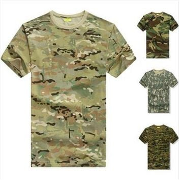 Military Tactical Airsoft Camo training hunting T-shirt running Camping Men's T Summer Tops Excerise Multicam