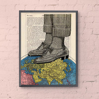 world map shoes collage print - The world at your feet - Wall art decor Poster print upcycled art Dictionary print gift him office decor art